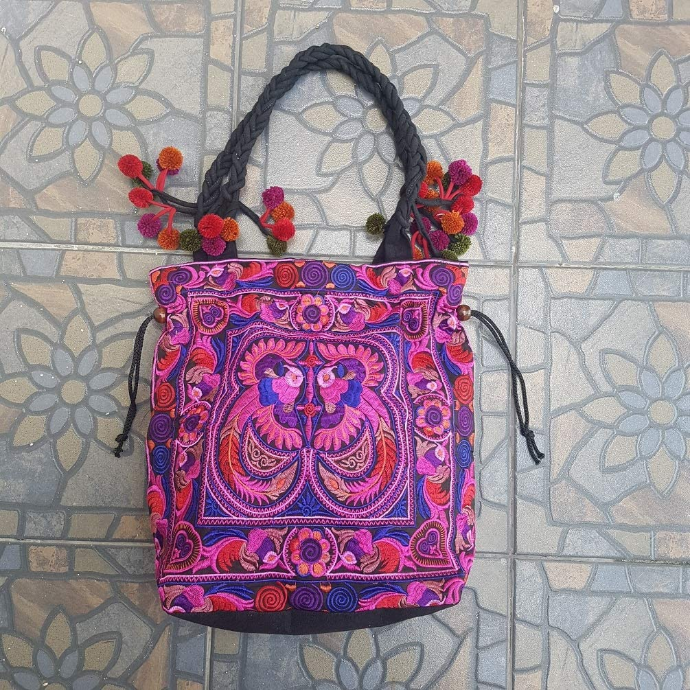 Hmong Tribal Ethnic Thai Indian Vintage Style Embroidered Hobo Shoulder Bag