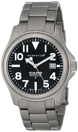Momentum Atlas TI - Reloj analógico de caballero de cuarzo con correa de titanio plateada - sumergible a 100 metros: Amazon.es: Relojes