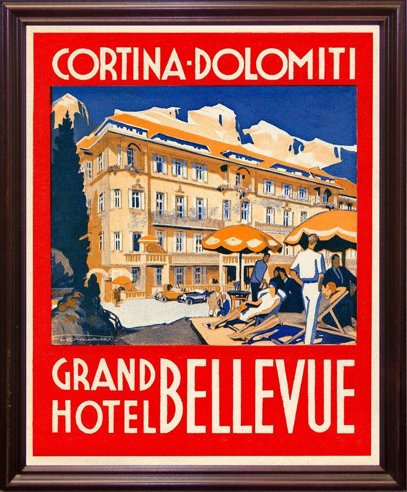 Cortina-Dolomiti, Grand Hotel Bellevue Print 20.73''x16.72'' by Print Collection in a Cherry Grande