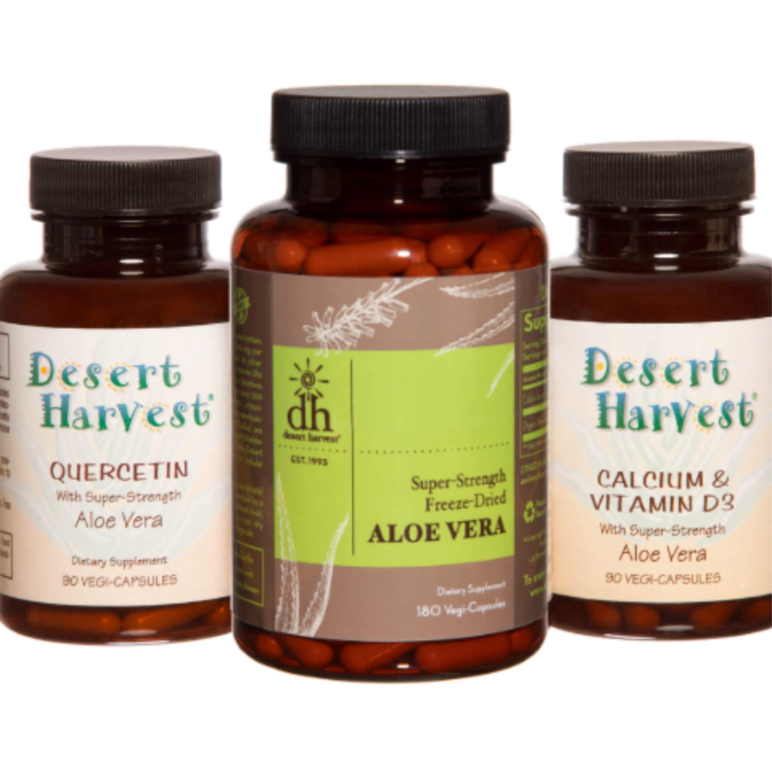 Interstitial Cystitis Starter Kit-Ideal Starter Supplements for IC/PBS. Super-Strength Aloe Vera Capsules + Calcium/Vitamin D3 + Quercetin. Bladder Pain Relief, antihistamine & Acid Reducer by Desert Harvest