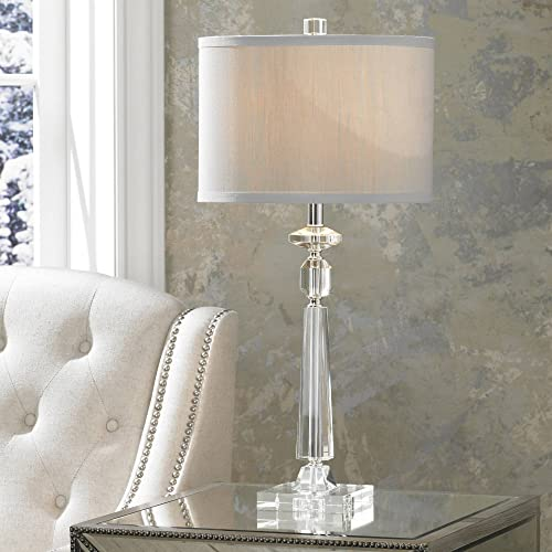 Aline Modern Table Lamp Crystal Column Luxe Gray Drum Shade for Living Room Family Bedroom Bedside Nightstand – Vienna Full Spectrum