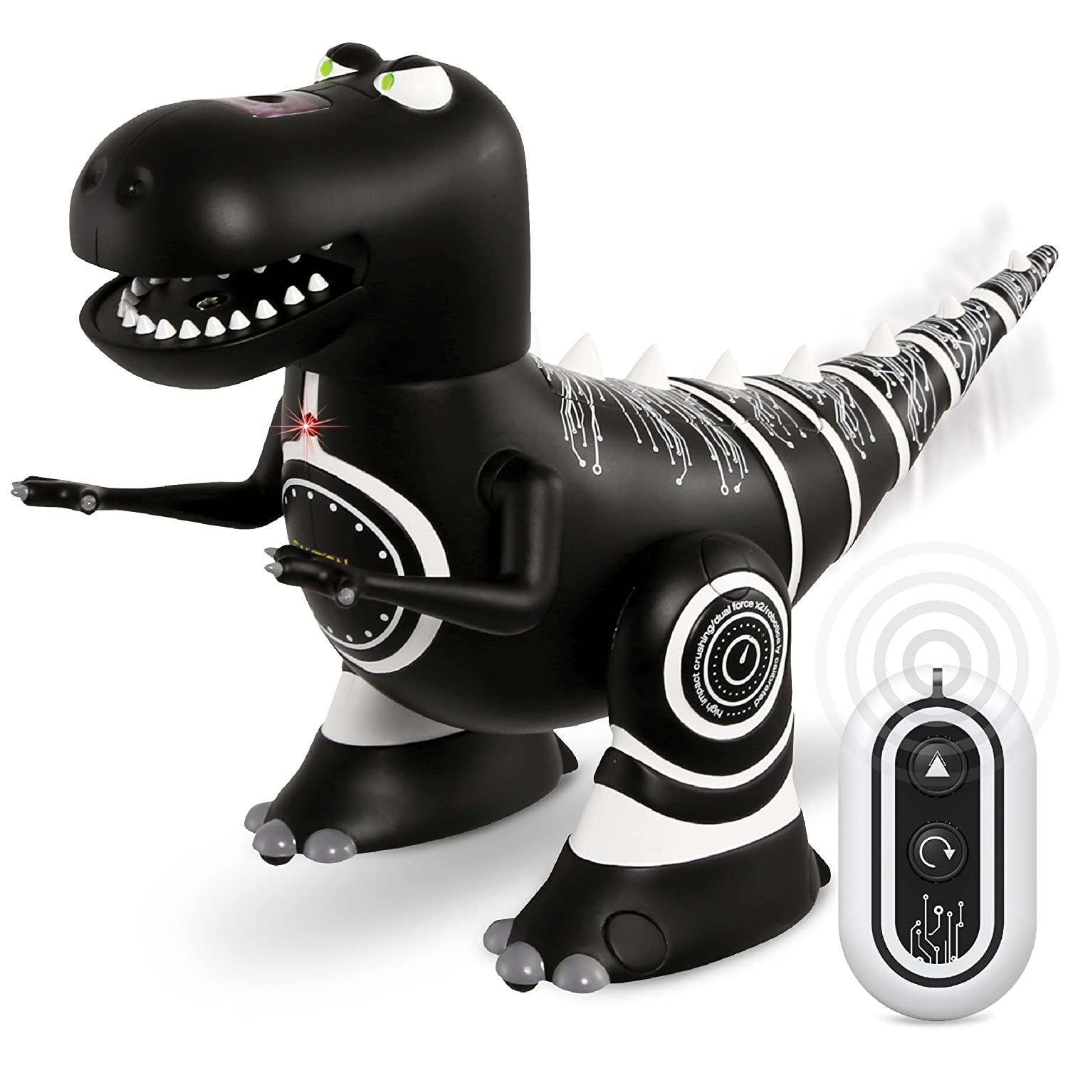 Sharper Image Remote Control Mini RC Robotosaur Dinosaur Toy for Kids Miniature Futuristic Sci Fi Robot T Rex Moving Action Figure with Infrared Technology Battery Operated – Black Body