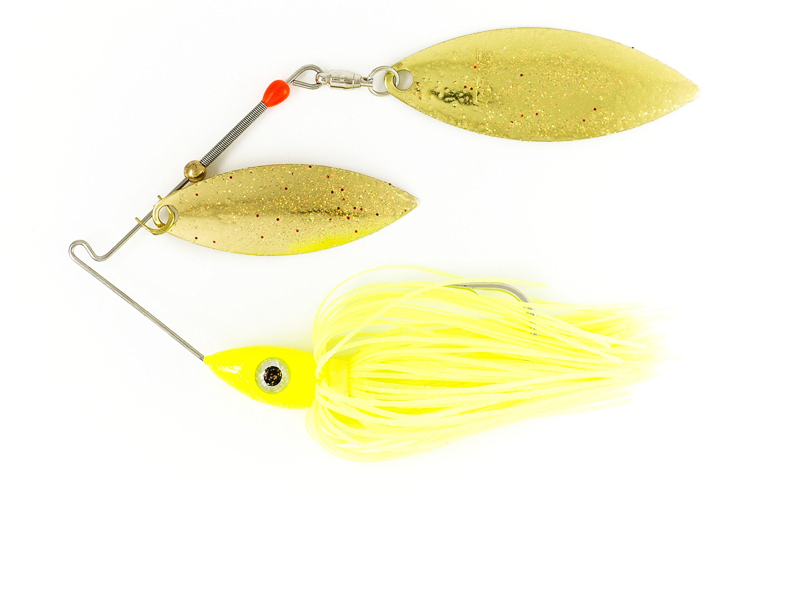 Nichols Lures Pulsator Metal Flake Double Willow Spinnerbait, Chartreuse/Gold, 3/8-Ounce by Nichols Lures