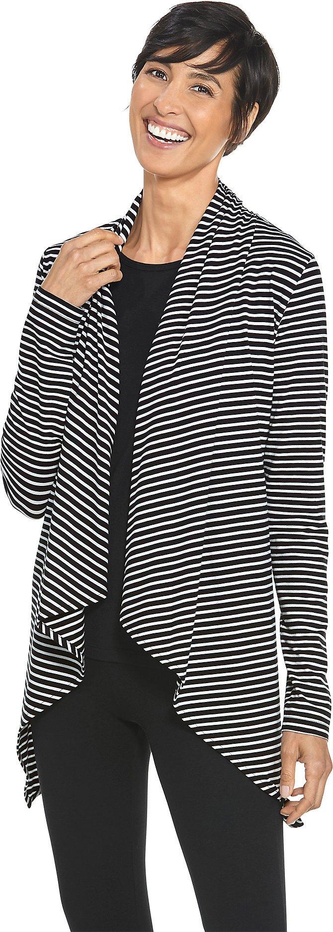 Coolibar UPF 50+ Women's Sun Wrap - Sun Protective (Medium- Fine Black/White Stripe)