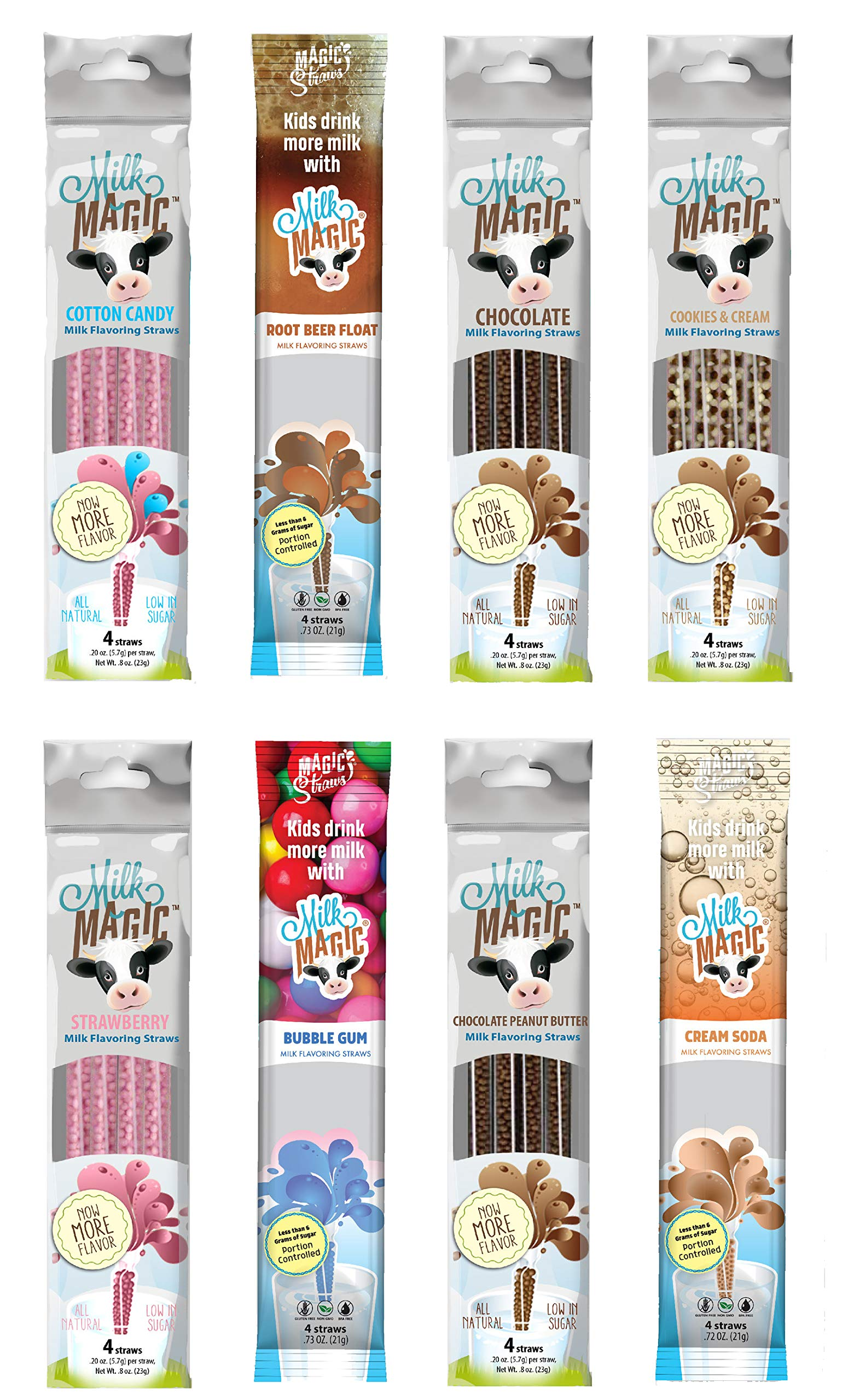 Milk Magic Milk Flavoring Straws 32 Straw Variety Pack Flavors May Include: Cookies and Cream, Chocolate, Strawberry, Cotton Candy, Root Beer Float, Cream Soda, Chocolate Peanut Butter and Bubble Gum