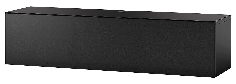 Sonorous STA 160T-BLK-BLK-WL hängende TV-Lowboard schwarzer Korpus, obere Fläche, gehärtetem Schwarzglas und Klapptür mit schwarzem Akustikstoff, ohne Sockel