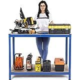 FREE NEXT DAY DELIVERY. 2 Level Workbench 275kg(UDL) Workstation Home Garage DIY Work Table 900mm H x 1200mm W x 600mm D