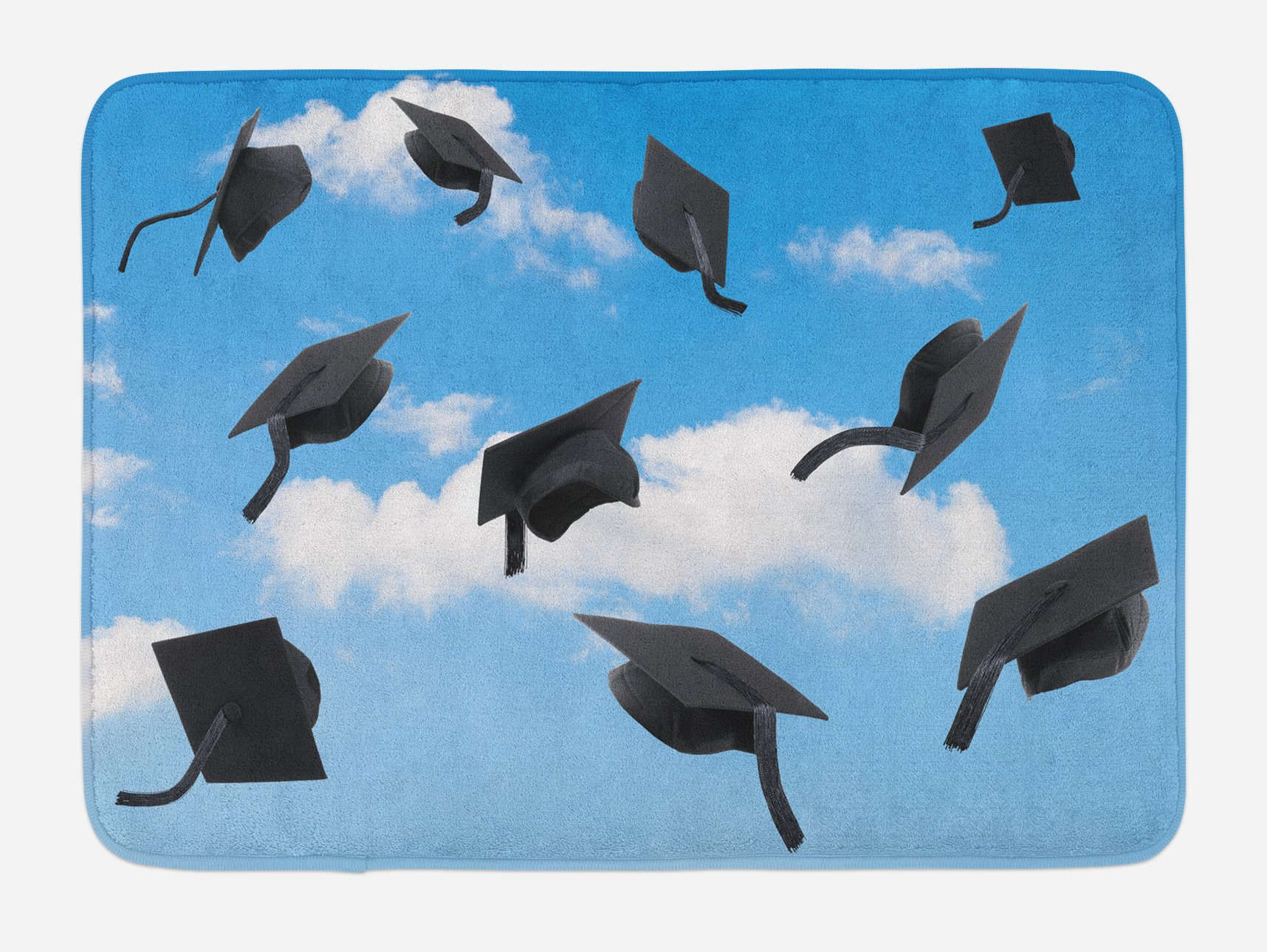 Lunarable Graduation Bath Mat, Caps Thrown into Sky Last of the School Highschool College Ceremony Picture, Plush Bathroom Decor Mat with Non Slip Backing, 29.5 W X 17.5 W Inches, Blue Black