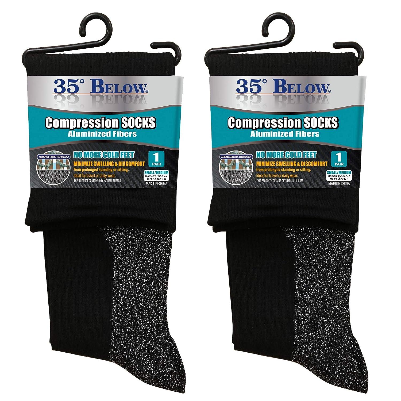 f79379659b5c3 Amazon.com: 35 Below Compression Socks 1 pair in Black; Size Small/Medium -  2-IN-1 Compression & Warming Socks – Aluminized Thread with Aerospace  Fabric ...
