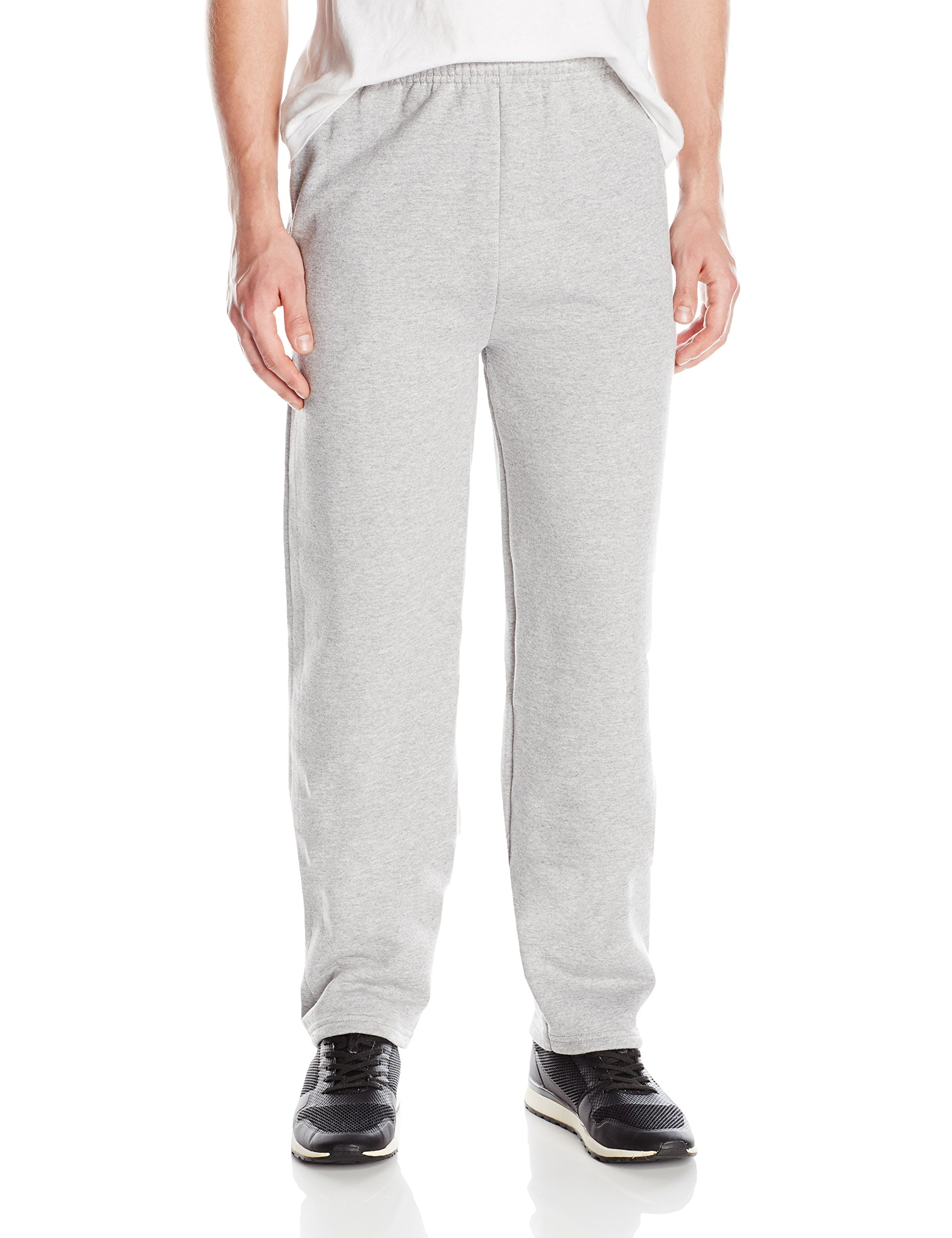 Hanes Men's EcoSmart Open Leg Fleece Pant with Pockets, Grey Heather, XL
