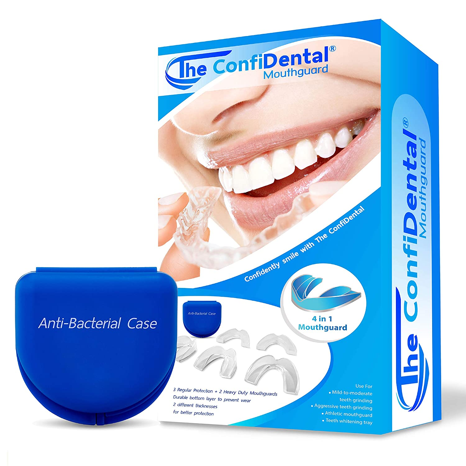 The ConfiDental - Pack of 5 Moldable Mouth Guard for Teeth Grinding Clenching Bruxism, Sport Athletic, Whitening Tray
