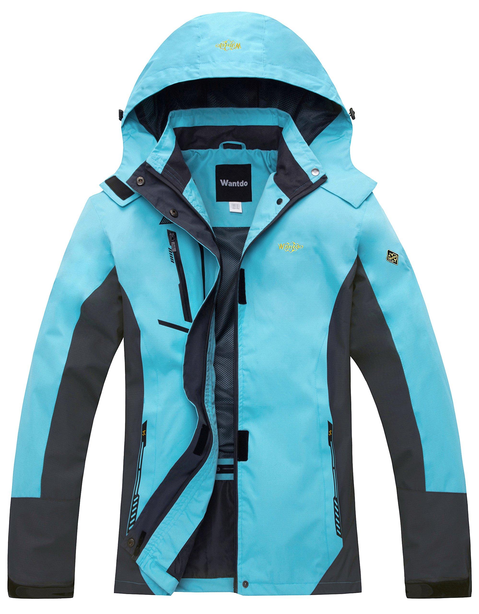Wantdo Women's Windbreaker Raincoat Breathable Softshell Hiking Jacket Blue US S