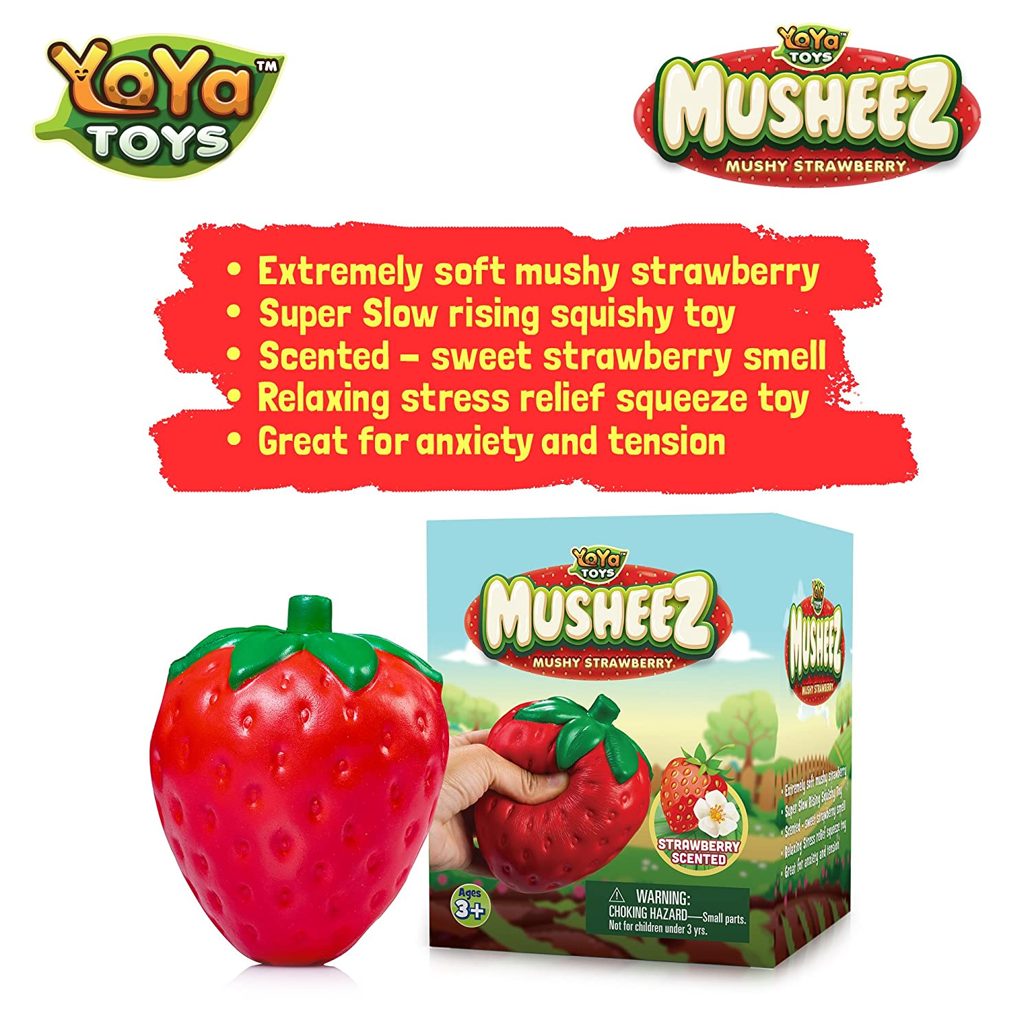 Nice Gift for Kids /& Adults Super Slow Rising YoYa Toys Stress Relief Squishy Strawberry Toy Funny Pleasant Strawberry Cake Smell Decompression Jumbo Size Anxiety Relieving Squeeze Toy