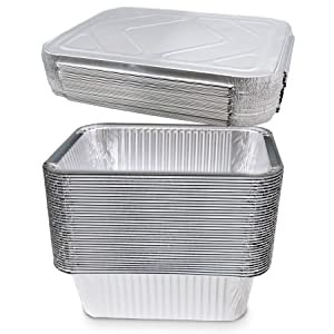 (10 Count) 5-lb Oblong Deep Disposable Aluminum Pans with Lids - Foil Pans Perfect for Baking Cooking Food and Storage Container
