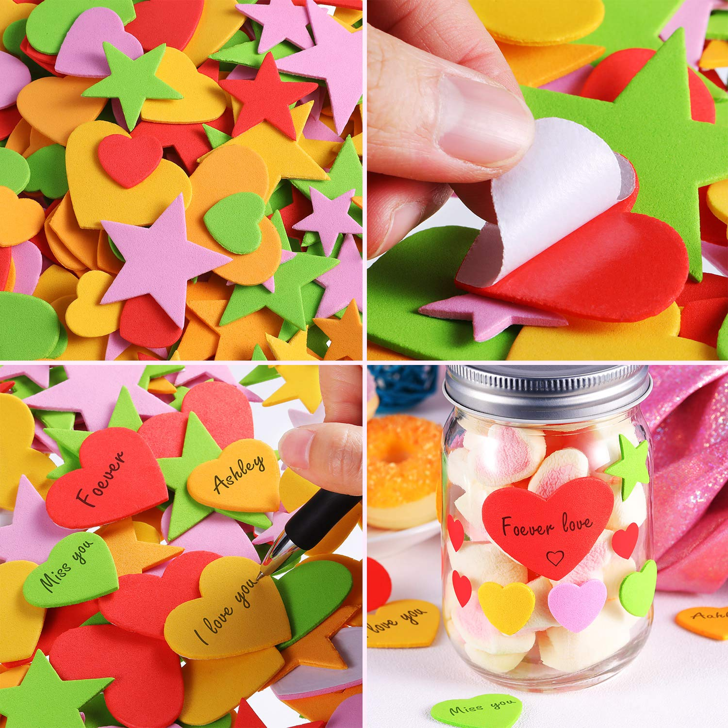 Leinuosen 500 Pieces Foam Heart Stickers Self Adhesive Hearts Decals for Valentines Day Mini Heart Shaped Stickers for Arts Craft Greeting Cards for Valentines Day Decoration Greeting Cards for Valentine/'s Day Decoration