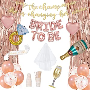 Decorlife Bachelorette Party Decorations, Rose Gold Bridal Shower Decor for Women, 66PCS, Bride to Be Sash, Balloons, Veil, Fringe Curtains, Cups, Straws, Banner Included