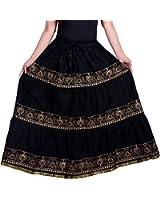 Decot Paradise Women's Cotton Block Print Self Design Full Long Skirt