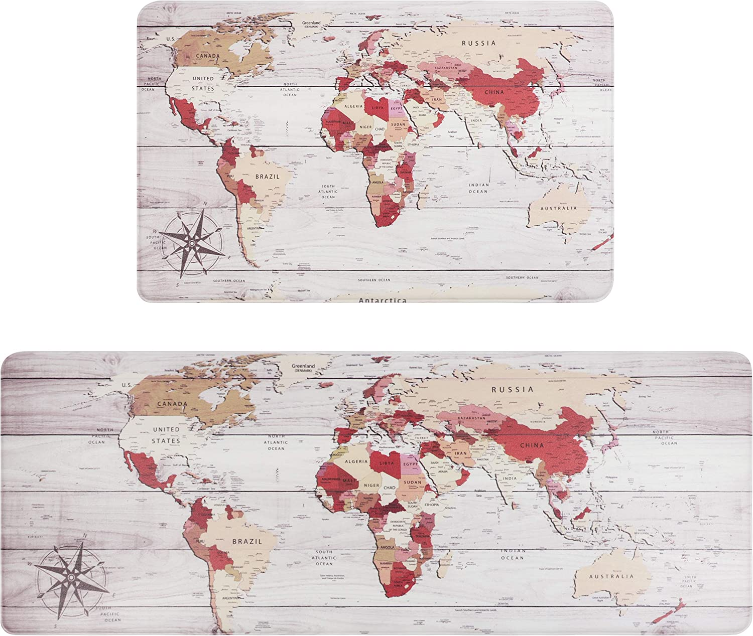 "Falflor 2 Pieces Anti Fatigue Kitchen Floor Mats World Map PVC Leather Heavy Duty Standing Mats for Indoor Home Office Standing Desk Rug Wipe Clean(17""×28"" +17""×47"")"