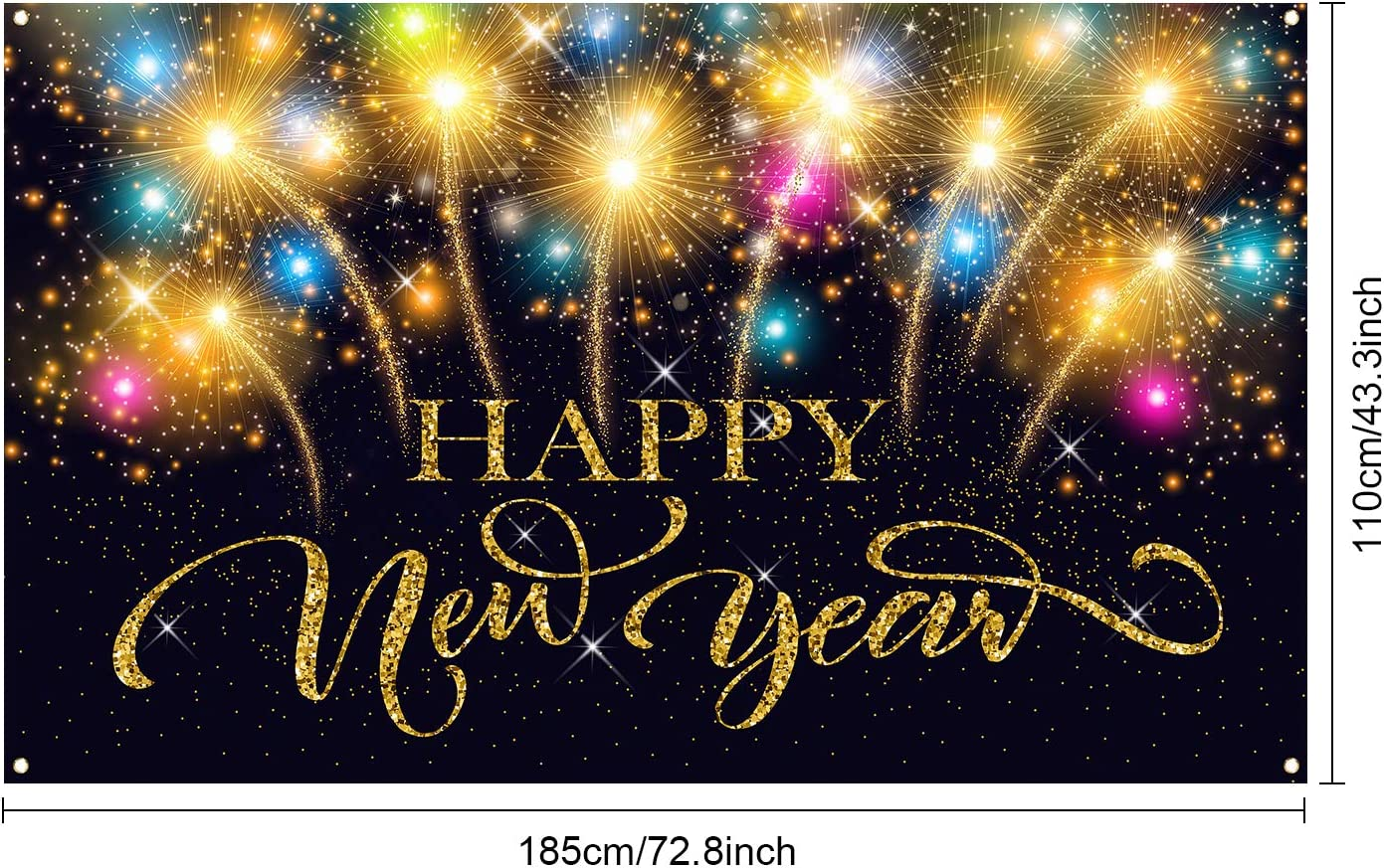 Happy New Year Party Dekoration Lieferung 2021 Neujahr Feuerwerk Foto Stand Hintergrund Banner Extra Gro/ße Stoff Happy New Year Banner f/ür 2021 Party Dekoration 72,8 x 43,3 Zoll