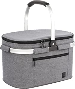 ALLCAMP OUTDOOR GEAR Large Size Picnic Basket Cooler portable Collapsible 22L Insulated Cooler Bag with Sewn in Frame (Gray)