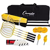 Champion Sports Outdoor Badminton Set: Net, Poles, 4 Rackets, 4 Shuttlecocks & Bag - Portable Equipment for Backyard Games, Team Sports, Adults & Kids