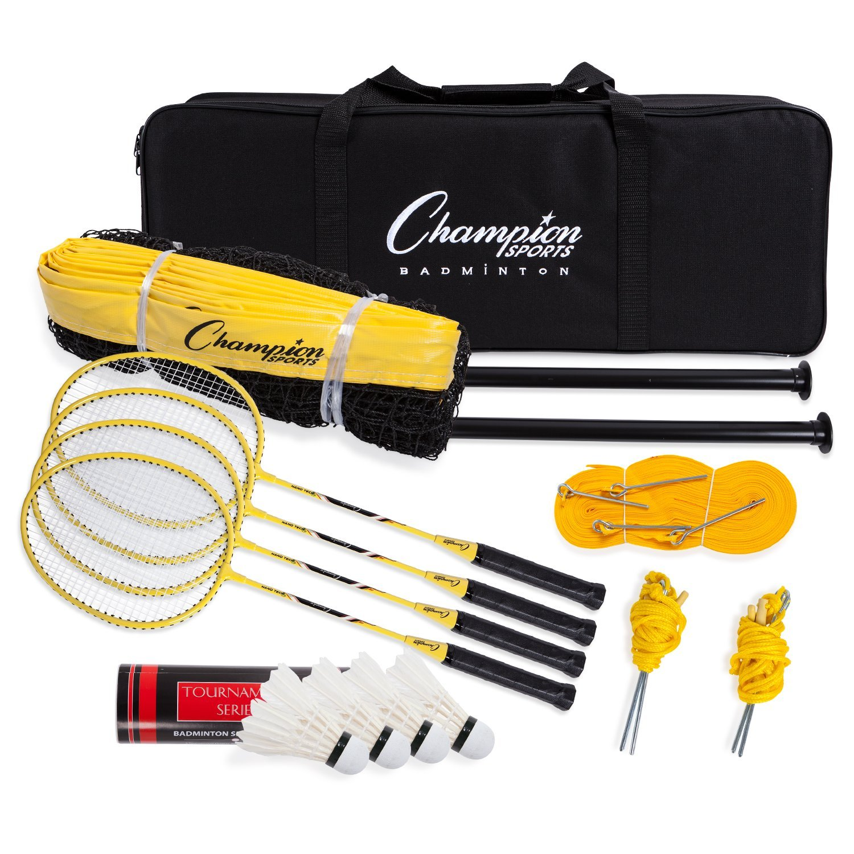 Champion Sports Outdoor Badminton Set: Net, Poles, 4 Rackets, 4 Shuttlecocks & Bag - Portable Equipment for Backyard Games, Team Sports, Adults & Kids