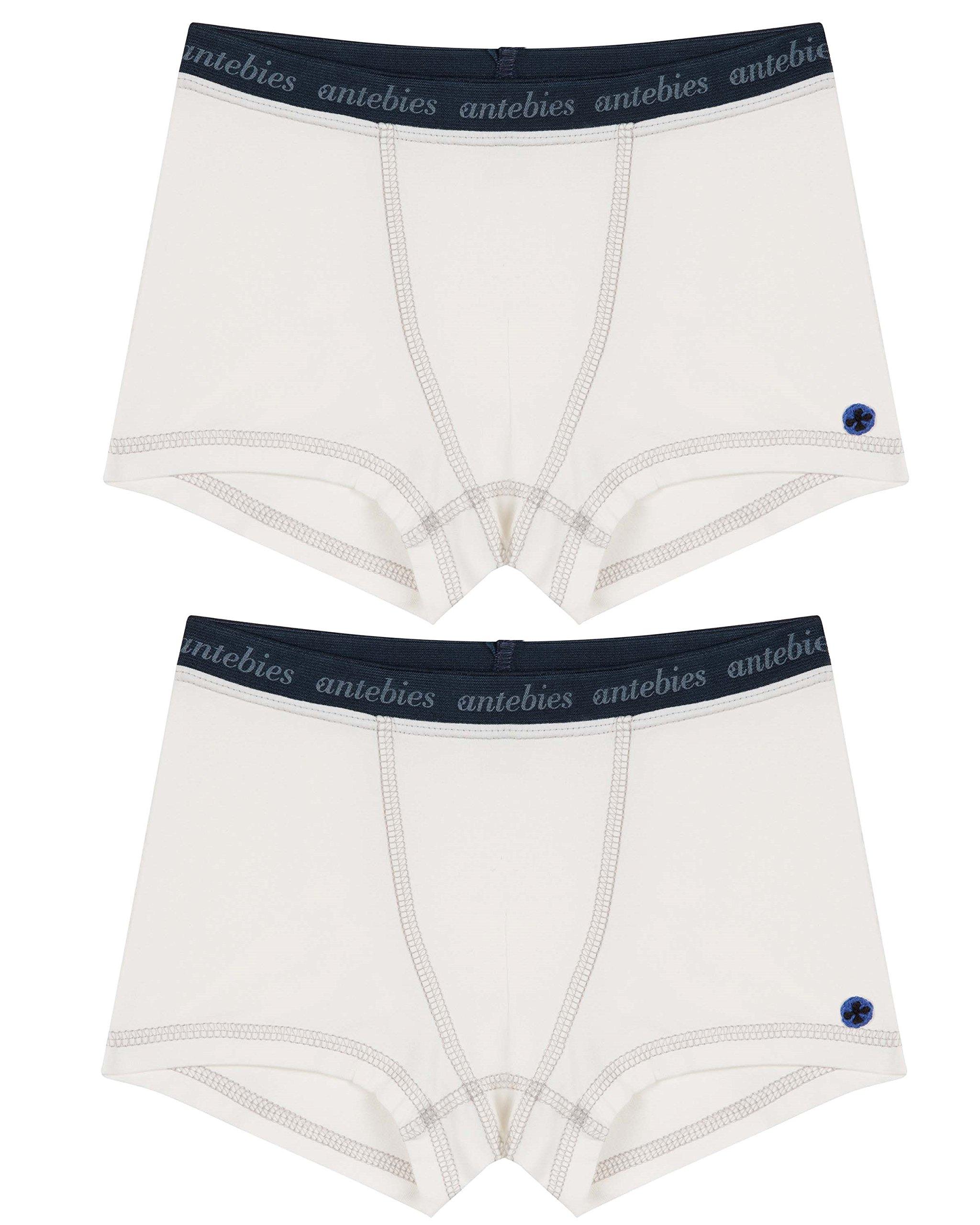 Antebies Boys Boxer Briefs White Organic Cotton Tagless Soft Underwear 11/12