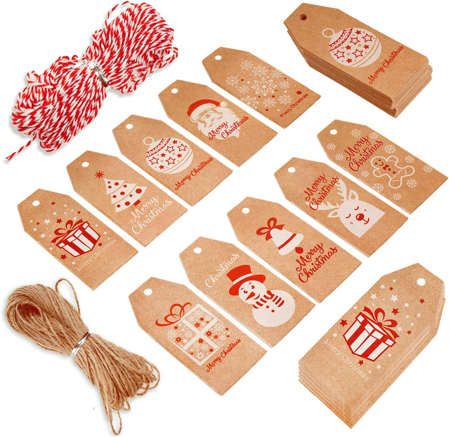 Kraft Paper Tags Xmas Gift Hanging Labels with String for Gift Decorations FINGOOO 100 Pieces Gift Tags