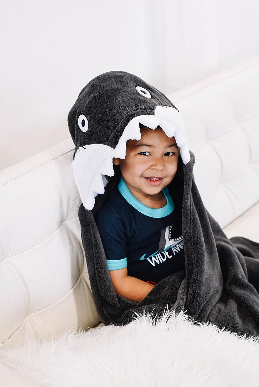 LazyOne Grey Hooded Critter Fleece Blanket Shark
