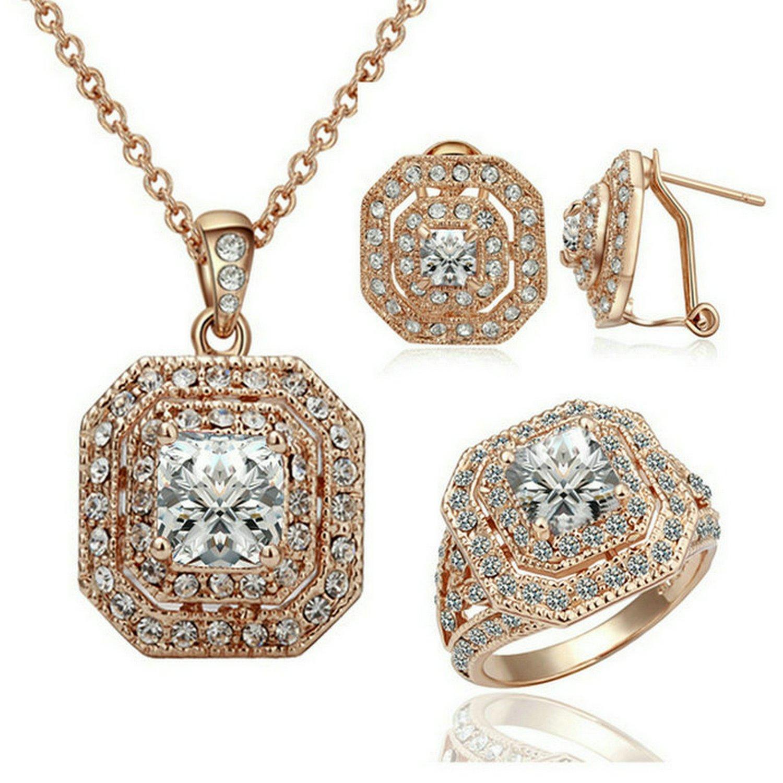 Amazon Yoursfs Square Crystal Jewelry Set Halo Rhinestones