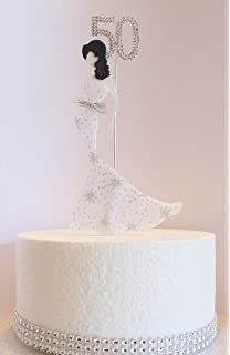 50th Birthday Cake Topper Glamorous Lady In A White Silver Star Dress And Diamante Number