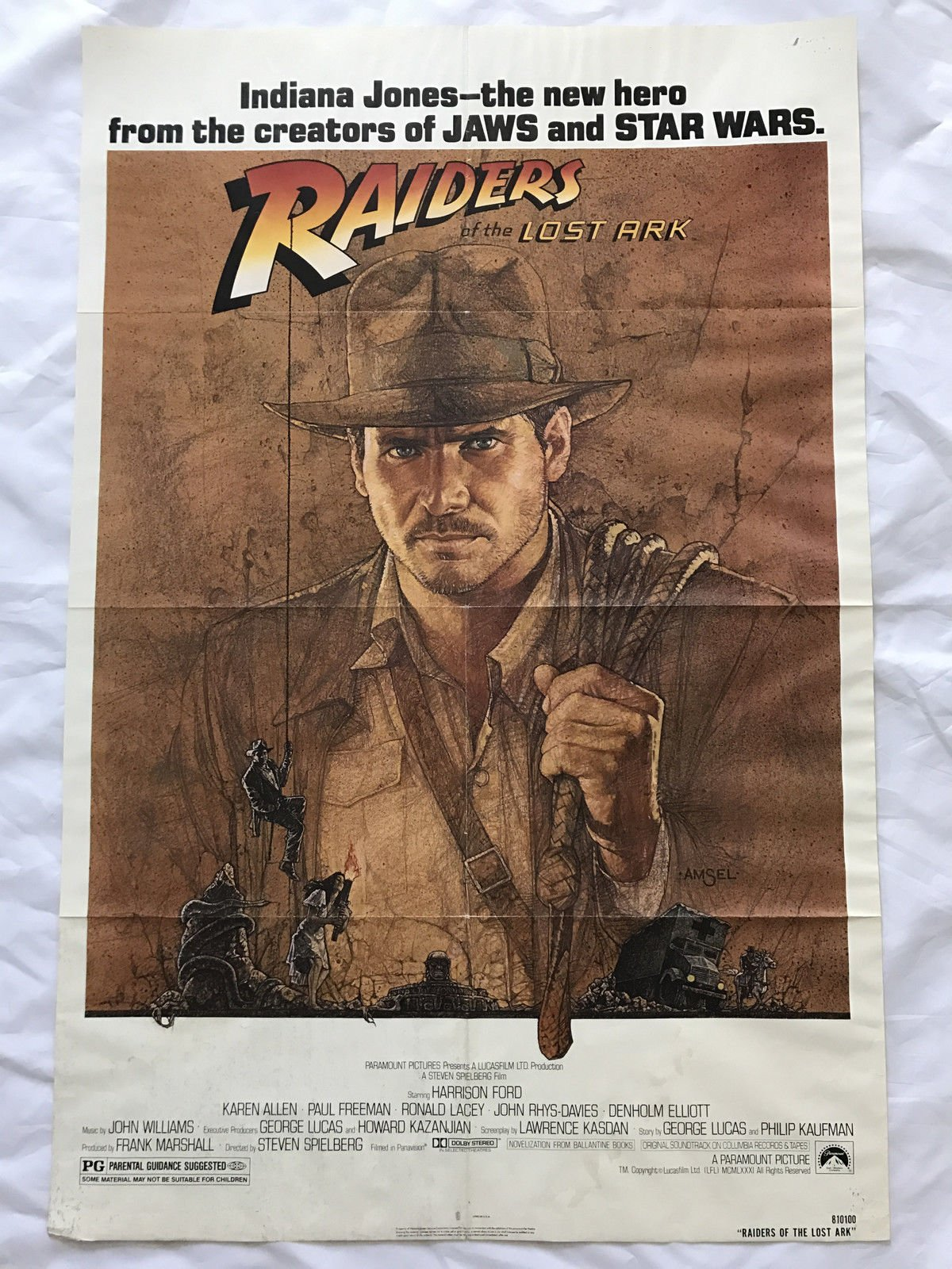 ''INDIANA JONES'' 1981 ORIGINAL MOVIE POSTER FIRST ISSUE 27X41 HARRISON FORD
