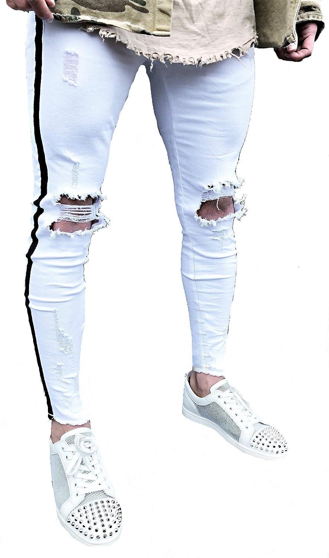 Herren Fitness Denim Hosen Jeans Destroyed Ripped Jeanshose Skinny Röhrenjeans