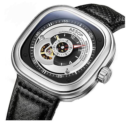 Fanmis negro correa de cuero mecánico automático resistente al agua Skeleton Hombres Relojes Square Dial plata: Amazon.es: Relojes