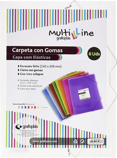 Grafoplás 04801800-Pack de 6 carpetas con gomas Multiline, tamaño ...