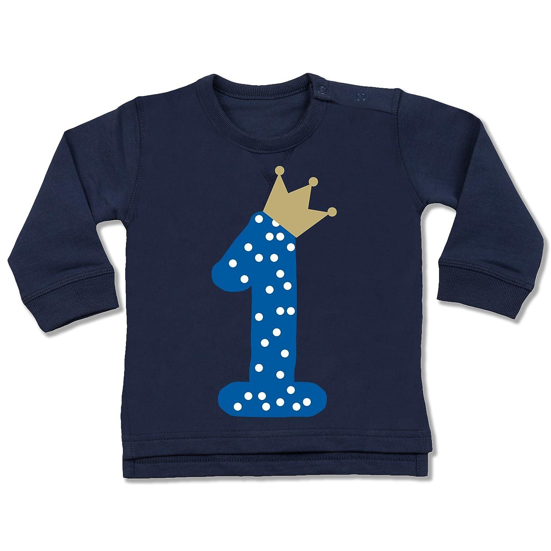 Shirtracer Geburtstag Baby - 1. Geburtstag Krone Junge Erster - Baby Pullover BZ31