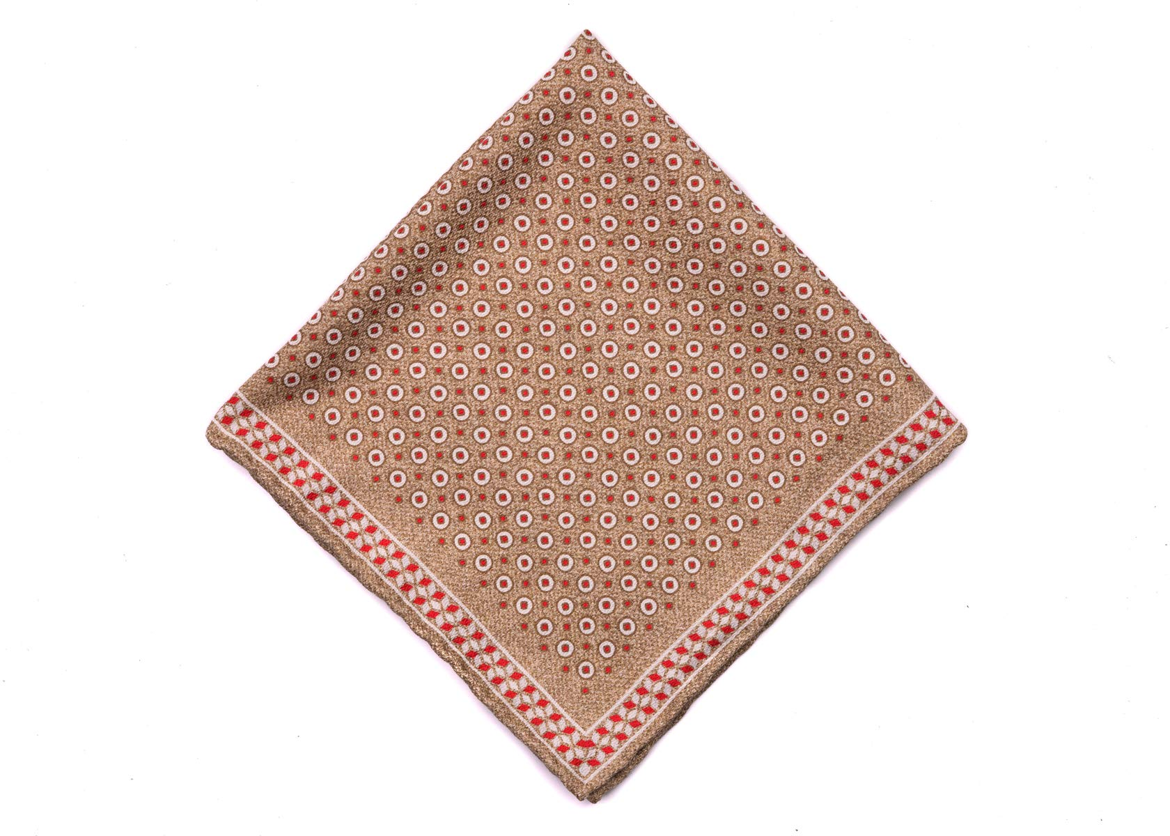 Brunello Cucinelli Mens Brown Dotted Silk Pocket Square One Size~Retail$225