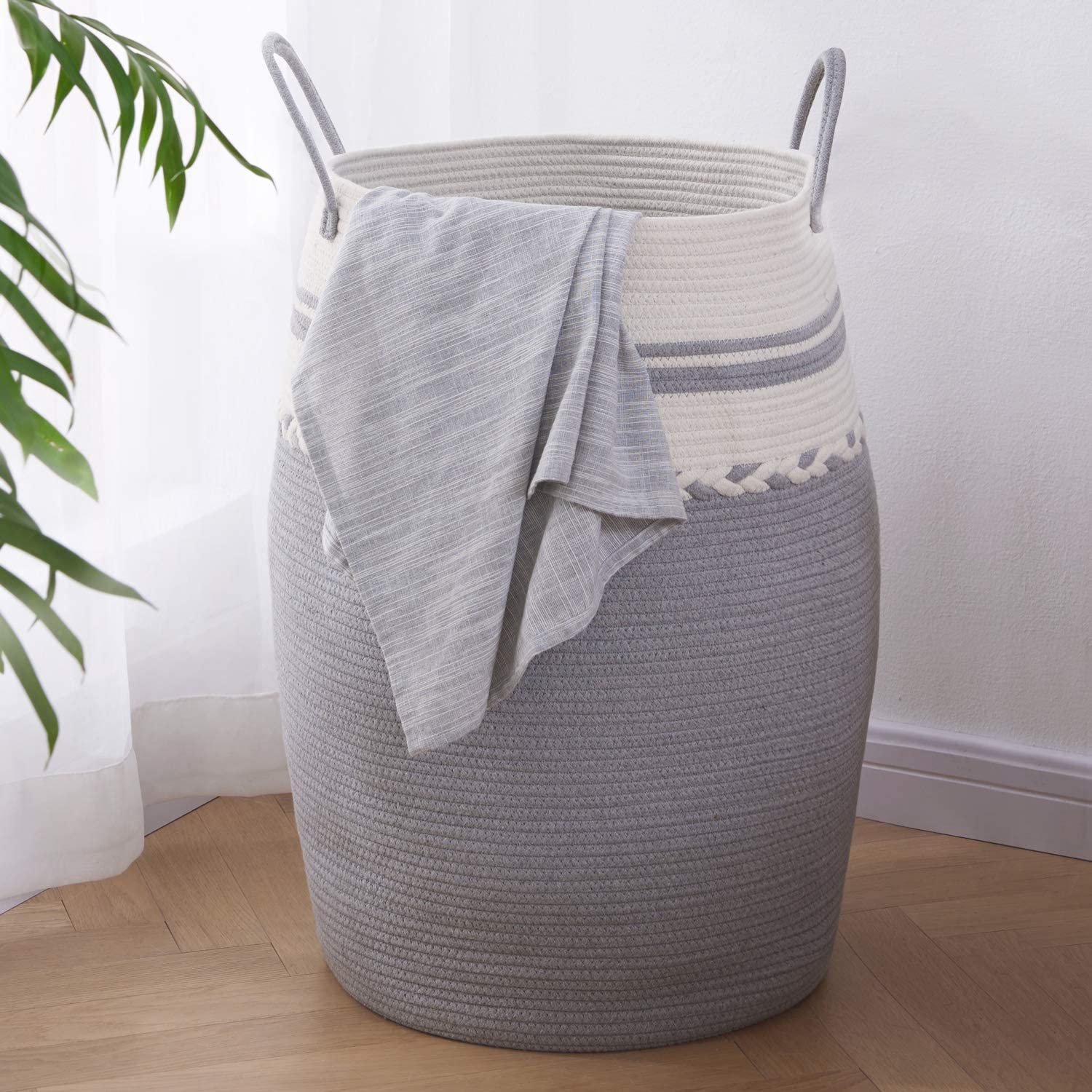 "OIAHOMY Laundry Hamper Woven Cotton Rope Large Clothes Hamper 25.6"" Height Tall Laundry Basket with Extended Cotton Handles for Storage Clothes Toys in Bedroom, Bathroom, Foldable (White Gray)"