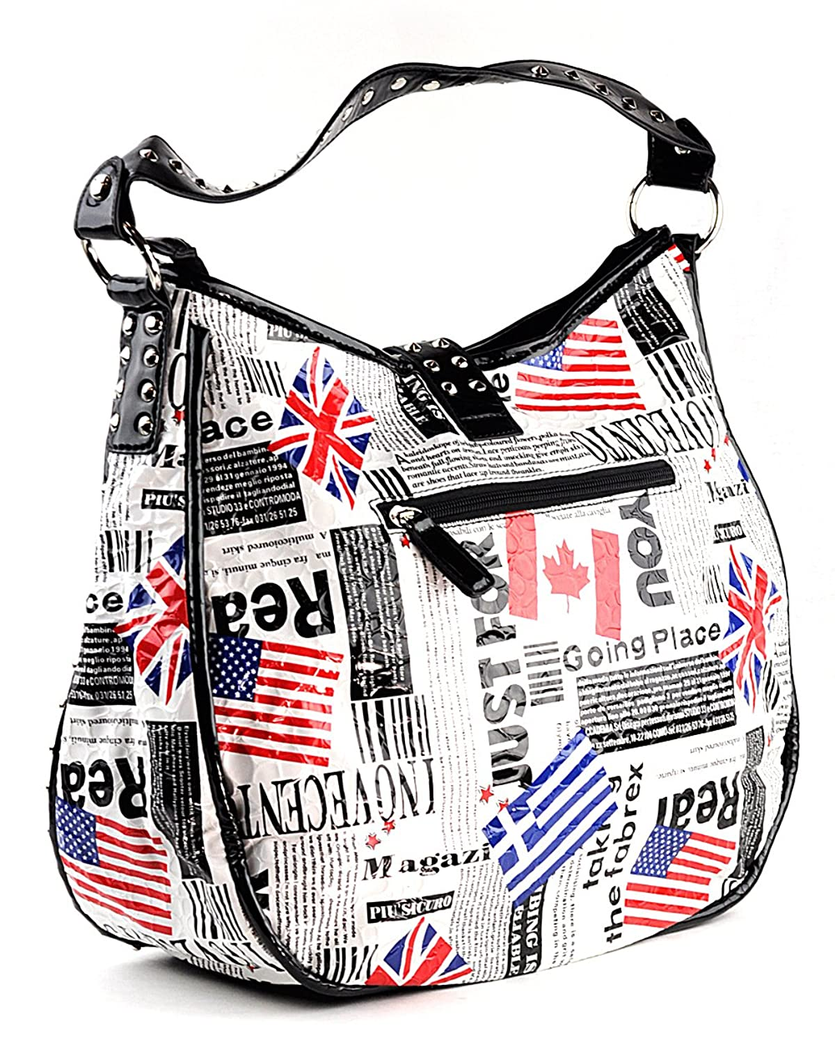 NYfashion101 Very Unique Patent Multi Country Flag Printed Shoulder Bag PAN04K