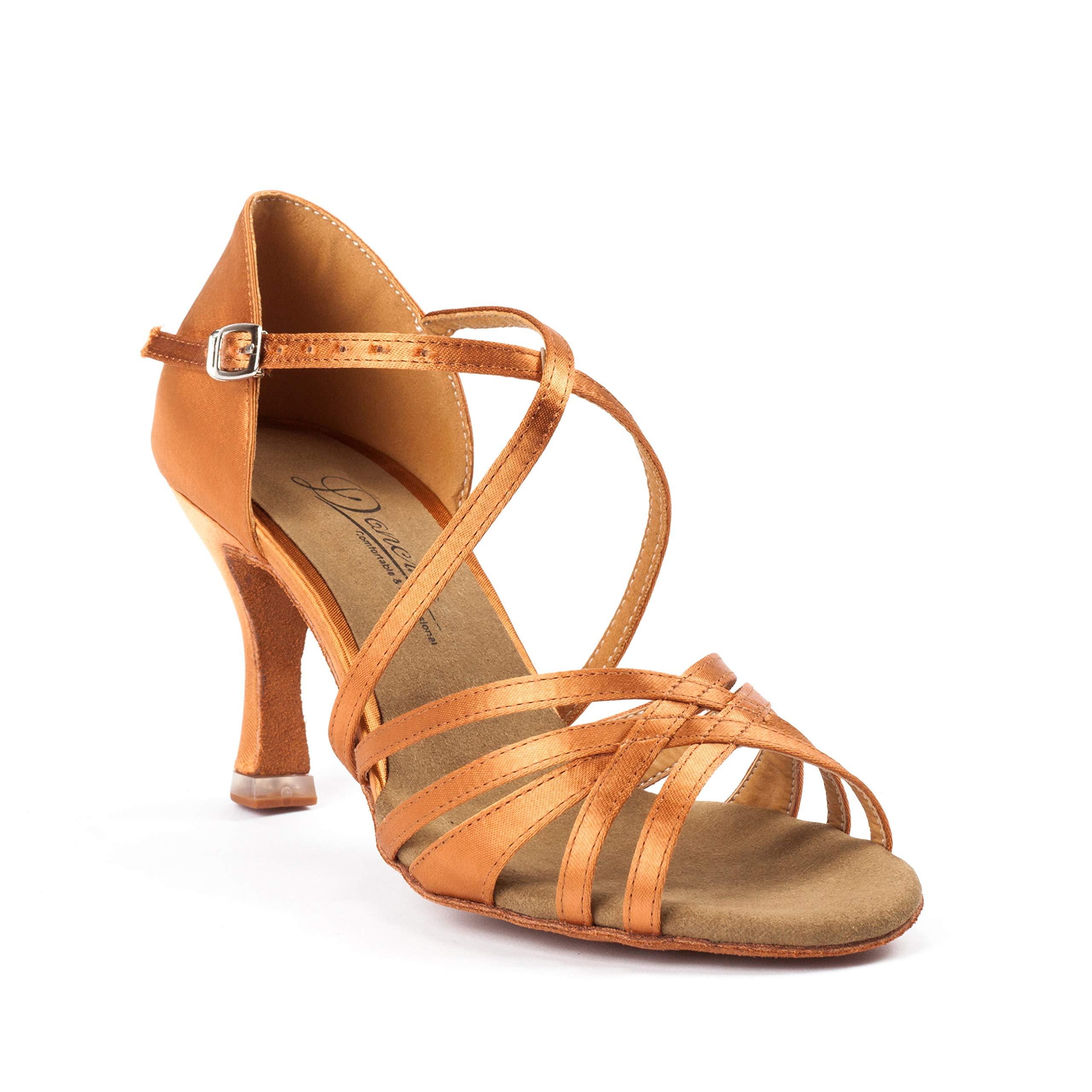 Dancine Ballroom Latin Social Salsa Tango Dance Shoes,Double-Layer Heel Tip,Premium Satin,Four Styles (8 B(M) US, Fay Tan) by Dancine