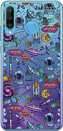 dakanna Custodia per [Huawei P30 Lite] Sfondo Trasparente con Disegni [Simboli Spaziali Astronauta Alieni Pianeti Nave Luna e telescopio] in Morbida ...