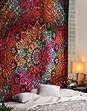 Tie Dye Bohemian Wall Art Bed Spread Tapestry Elephant Star Mandala Wall Hanging Boho Hippie Hippy Beach Coverlet Curtain by Rajrang