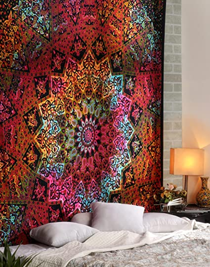 Charmant RAJRANG Multicolor Tie Dye Bohemian Tapestry Star Mandala Elephant Wall  Hanging Large Boho Hippie Beach Coverlet