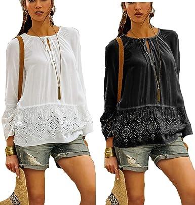 abdd0fb360fc1b Versandhausware Hippie Boho Tunika Bluse schwarz und Creme-weiß mit  Stickerei 962553/964350: Amazon.de: Bekleidung