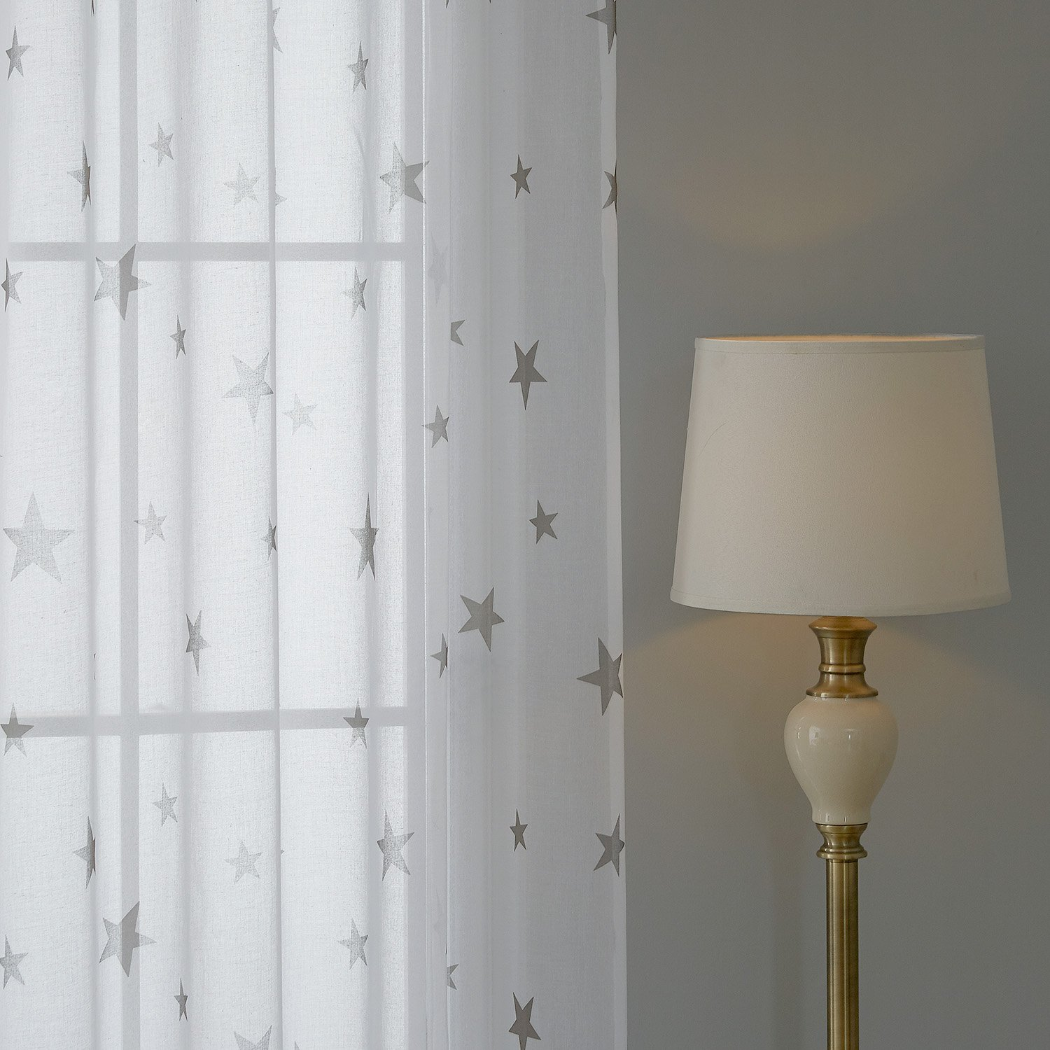 Deconovo Cotton Sheer Curtains Sheer Print Curtains India Curtains for Living Room 52 x 72 Inch 2 Panels Light Taupe Star