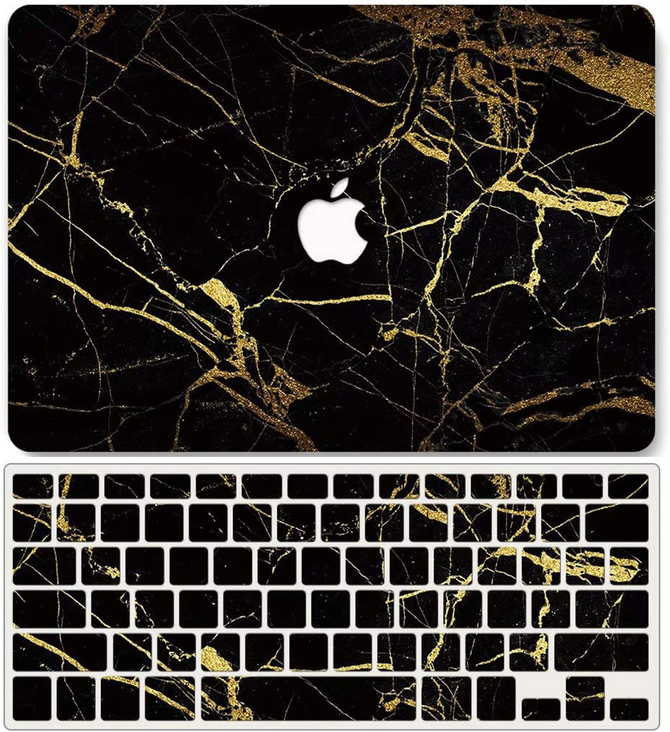 One Micron Case + Keyboard Cover Compatible with MacBook Air 13 Inch, Plastic Pattern Hard Case Shell Compatible MacBook Air 13.3 Inch (Model: A1369/A1466)-Black Gold Marble