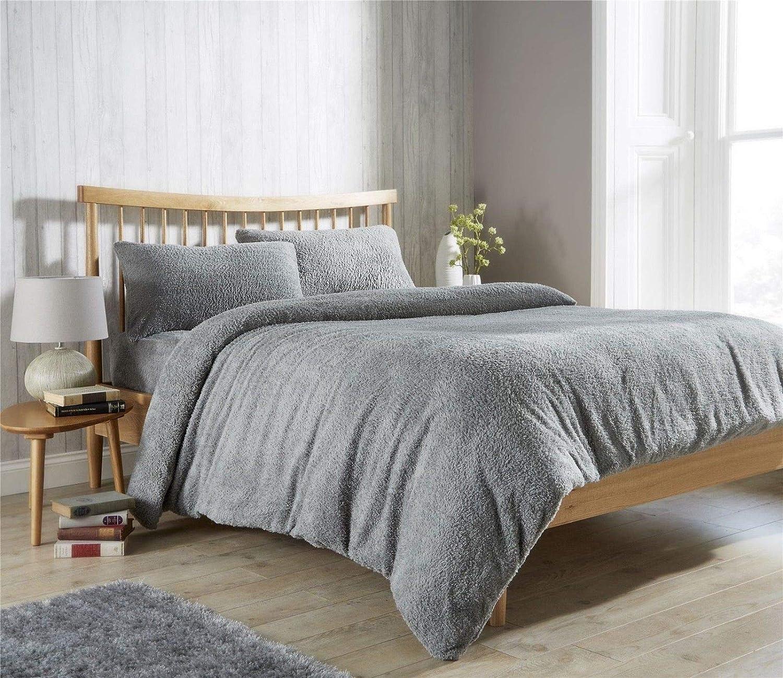 Lifestyle Production ® New Super Soft Teddy Fleece Duvet Quilt Cover Set With Pillowcase,Warm Cosy set (Double, Cream) Textile