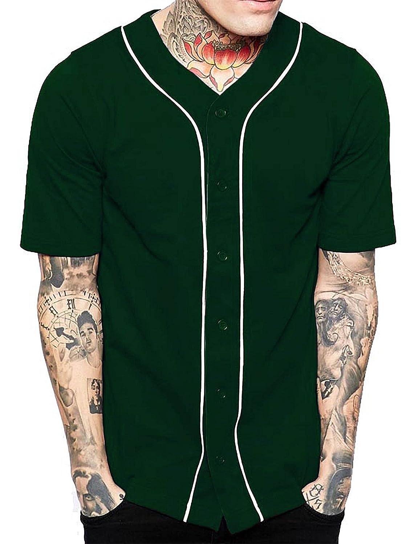 メンズ ベースボール ボタンタウン ジャージ ヒップスター ヒップホップ Tシャツ 1UPA01 B07891WYDW Small H. Green/White H. Green/White Small