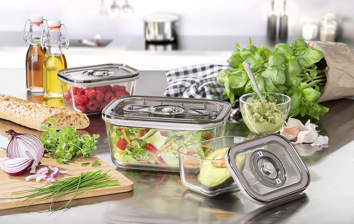 Caso Design VG 3000 3-Piece Food Vacuum Canister Set with Food Management App, small