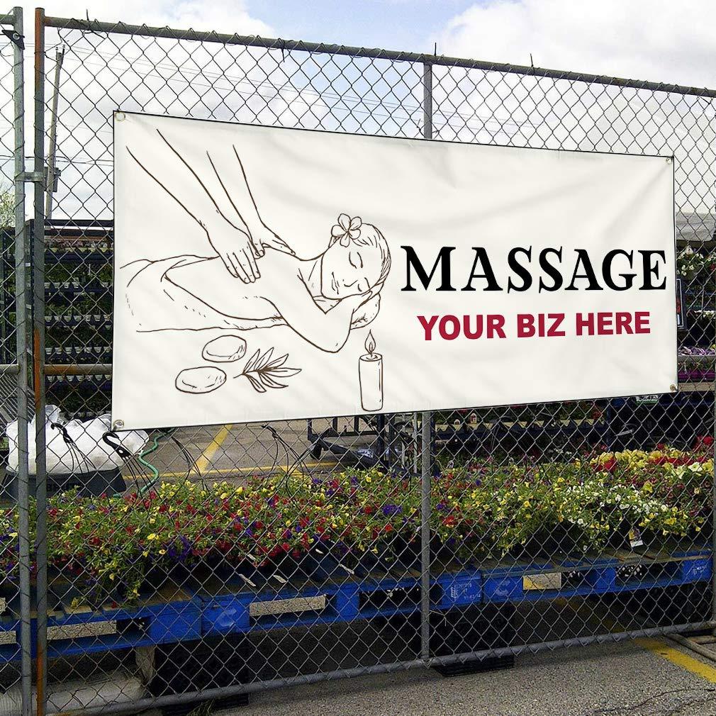Custom Vinyl Banner Sign Multiple Sizes Busines Name Massage Business Personalized Marketing Advertising Black 10 Grommets 60inx144in One Banner